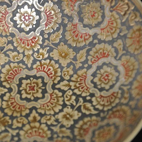 Set of Hand-Etched Enameled Brass Bowls - Image 3 of 6
