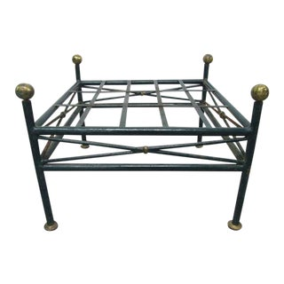 French Painted Wrought Iron Bench For Sale