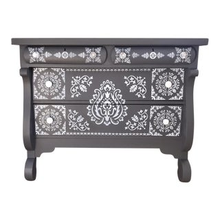 Solid Maple Stenciled Gray Dresser