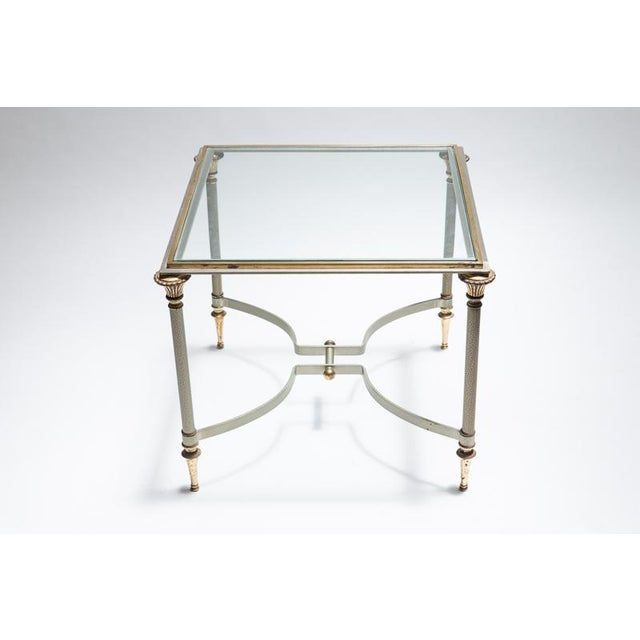 Maison Jansen Steel & Brass Side Tables- A Pair - Image 3 of 8