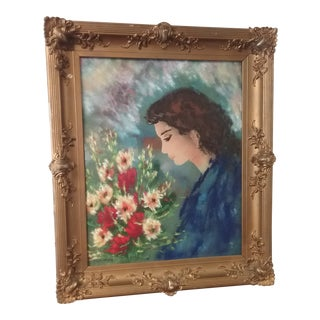 """Mark Moses """"Young Woman & Bouquet of Flowers"""" Enamel on Copper Painting For Sale"""