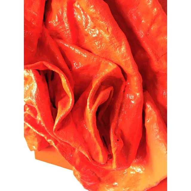 """2010s """"Fluorescent Grenadine Folds"""" Mixed Media Wall Sculpture For Sale - Image 5 of 8"""