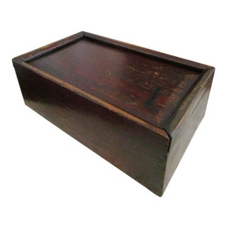 19th Century Early American Painted Pine Wood Box For Sale