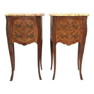 French Inlaid Kingwood Night Stands With Marble Tops -A Pair For Sale
