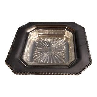 1952 EPC Square Silver/Glass Bon Bon Dish For Sale