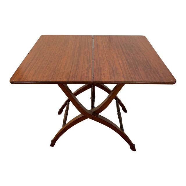 Versatile Campaign Style Mahogany Side or Dining Table For Sale
