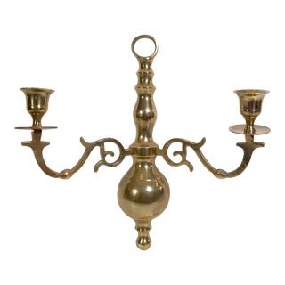 Vintage Brass Double Candle Sconce For Sale