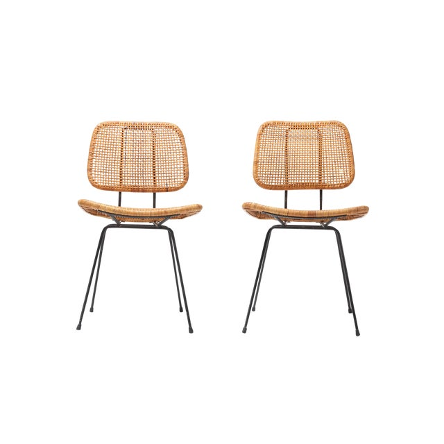Admirable Cane And Black Metal Tropical Dining Chair From The 50S Ibusinesslaw Wood Chair Design Ideas Ibusinesslaworg