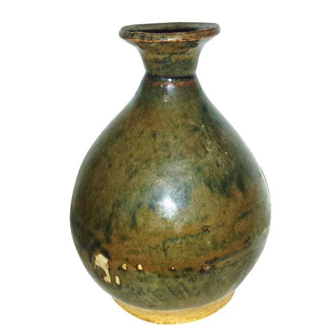 Antique Caramel-Glaze Chinese Clay Wine Saki Decanter For Sale