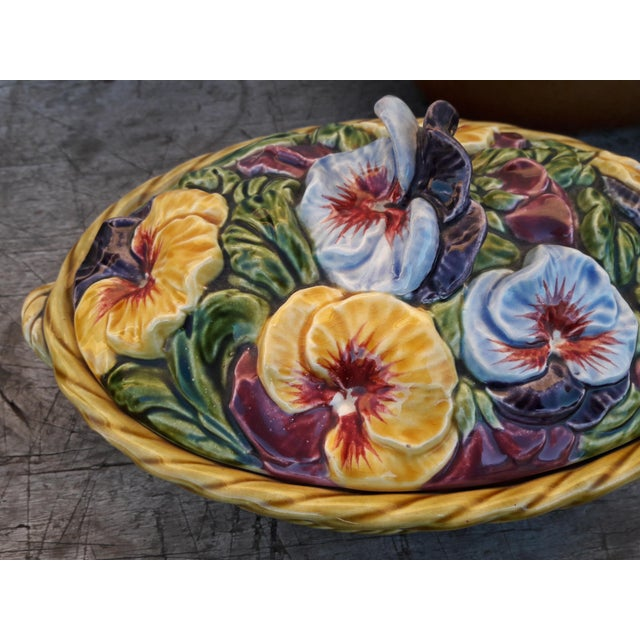 Yellow Antique Sarreguemines Majolica Pansy Tureen French Faience Majolica Flower Tureen For Sale - Image 8 of 10
