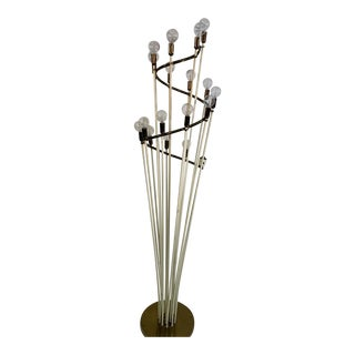 Monumental Mid Century Brass and White Enamel Spiral Floor Lamp For Sale