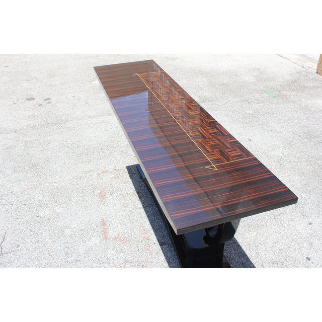 1940s French Art Deco Macassar Ebony / Black Lacquer Base Console Table, circa 1940s For Sale - Image 5 of 9