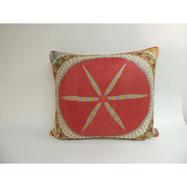 Late 19th Century Large 19th Century Embroidery Suzani Multicolor Decorative Floor Pillow For Sale - Image 5 of 5