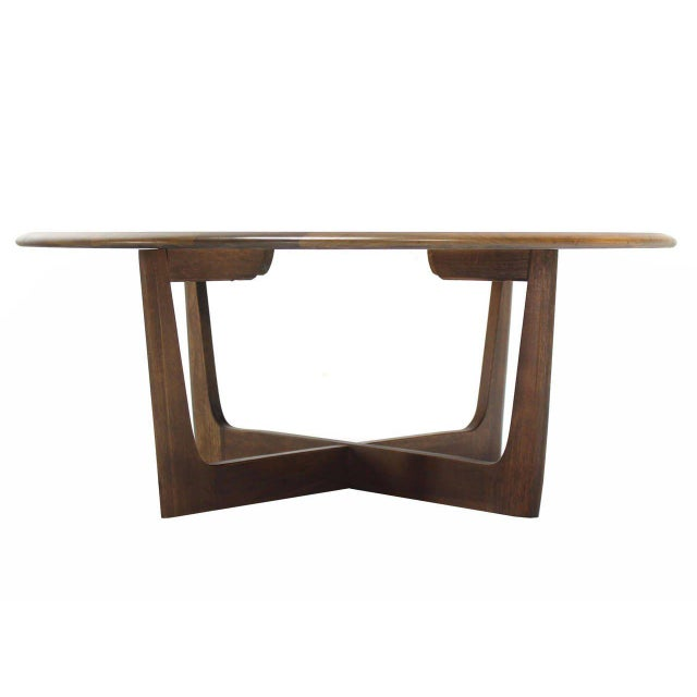 Early 20th Century Walnut X-Base Round Coffee Table For Sale - Image 5 of 6