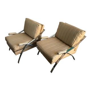 Vintage Carson Furniture Mid-Century Modern Chrome Arm Chairs - a Pair