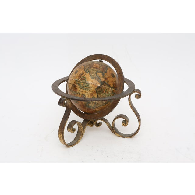 Italian Mini Old World Globe with Brass stand For Sale - Image 10 of 10