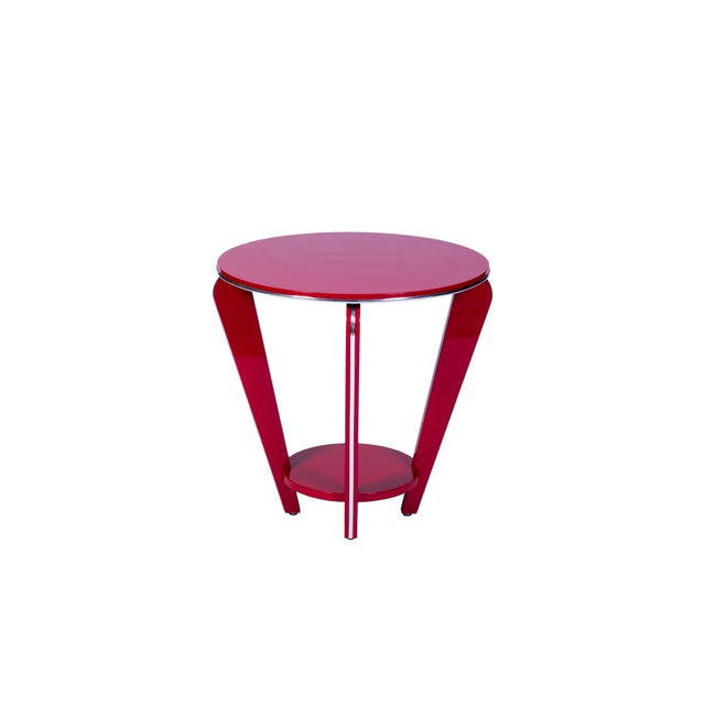 This beautiful Art Deco end or side table features a conical design with curved legs, chrome detailing and a beautiful...