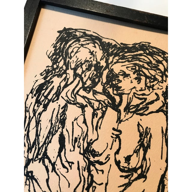 """Paper Mid Century Print """"Lovers"""" For Sale - Image 7 of 7"""