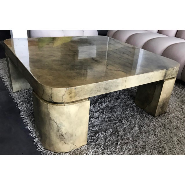 Karl Springer Style Lacquered Goatskin Coffee Table - Image 6 of 8