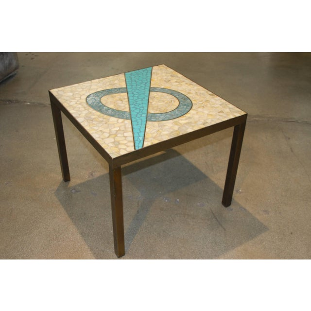 Mid 20th Century Tile Top Table With a Bronze Patinated Frame For Sale - Image 5 of 5