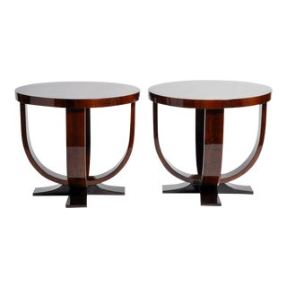 Walnut Veneer Round Tables- A Pair For Sale