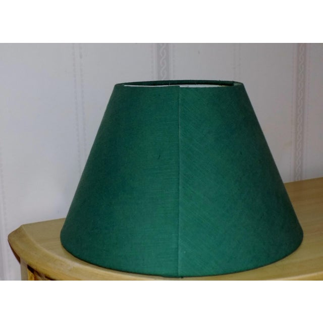 Green Irish Belleek Basketweave Shamrock Pattern Lamp with Original Linen Shade For Sale - Image 8 of 10