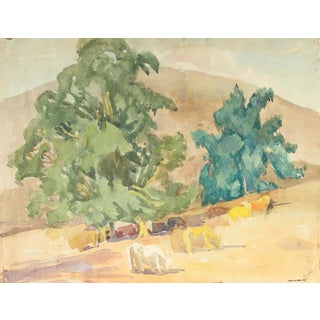 Mid Century Watercolor California Landscape With Cows For Sale