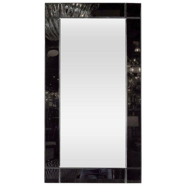 1920s Custom Handmade Rectangular Mirror with Beveled Black Mirrored Glass Border For Sale - Image 5 of 5