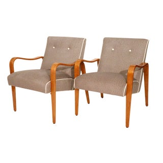 Mid-Century Thonet Brown Chairs- A Pair For Sale
