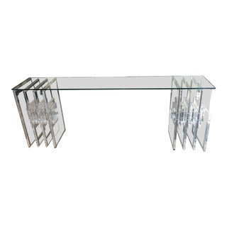 20th Century Hollywood Regency Glass & Acrylic Console Table For Sale