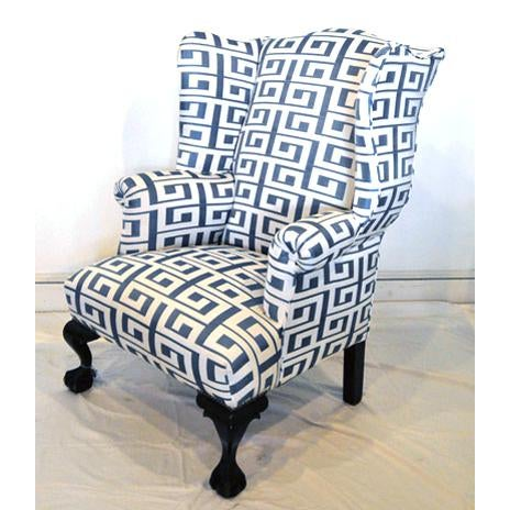 Early 20th Century Wing Chair and Ottoman For Sale - Image 5 of 7