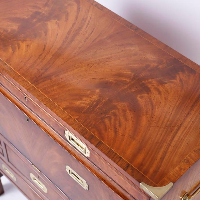 English Campaign Secretary Chest on Stand For Sale - Image 4 of 10
