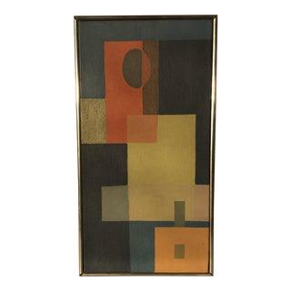 Vintage Mid Century Cubist Geometric Oil Painting on Canvas For Sale