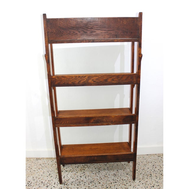 Wood Antique Victorian Folding Bookcase in Incised Oak For Sale - Image 7 of 13