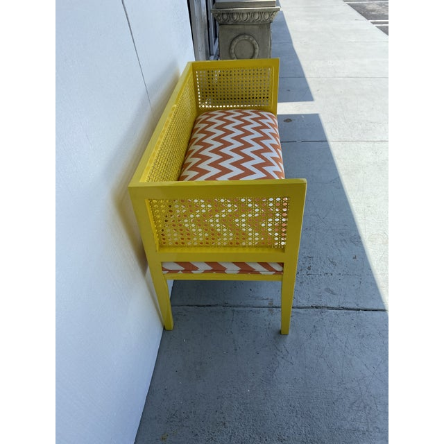 Yellow Midcentury Cane Loveseat For Sale - Image 8 of 13