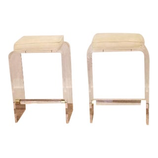 1970s Hollywood Regency Acrylic Counter Stools- a Pair For Sale