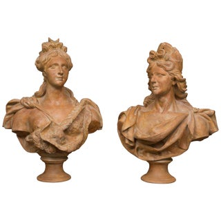 Italian Nobility Terra Cotta Busts - a Pair For Sale