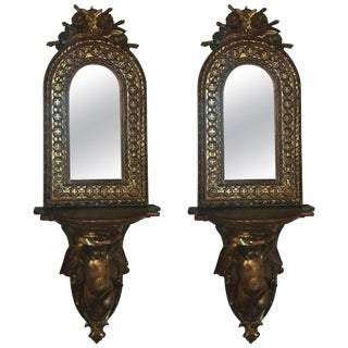 Continental Giltwood and Mirrored Sconces - A Pair For Sale