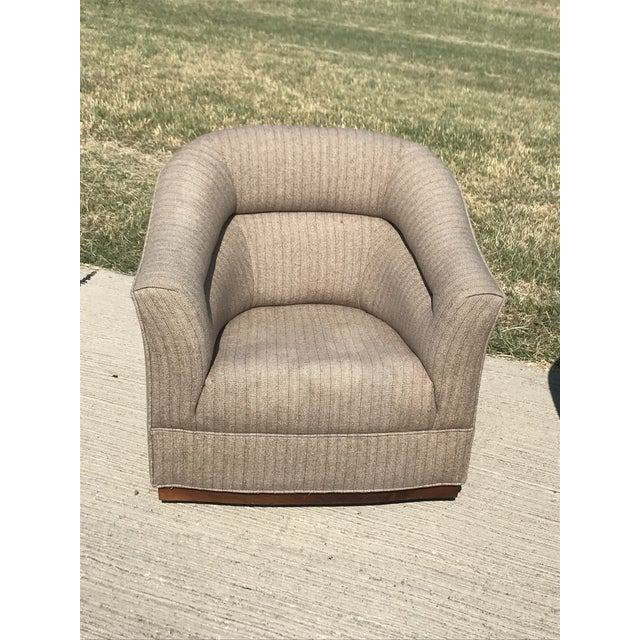 Mid-Century Modern Swivel Club Chairs Wood Plinth Base - a Pair For Sale - Image 9 of 13