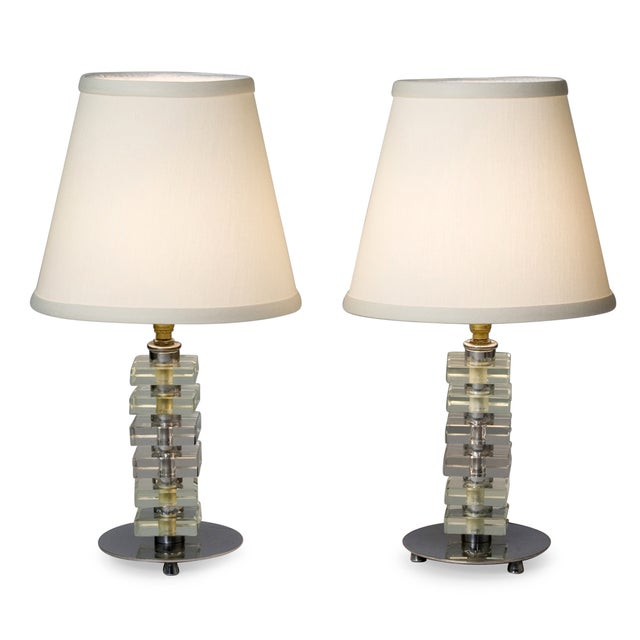 1930s French Stacked Glass Boudoir Table Lamps - 2 - Image 3 of 5