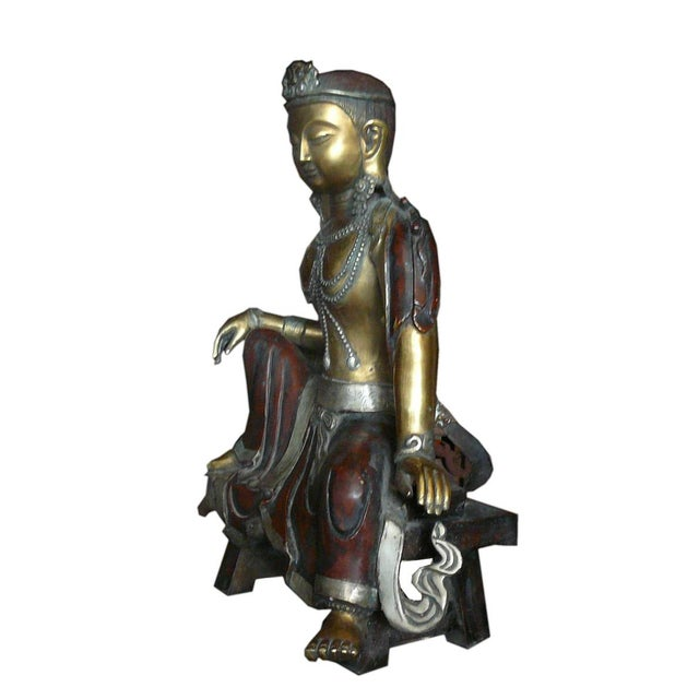 Chinese Handmade Metal Tara Statue For Sale - Image 4 of 6