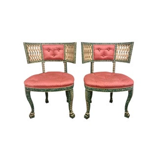 Antique French Faux Hand Painted Malachite Pink and Green Chairs For Sale