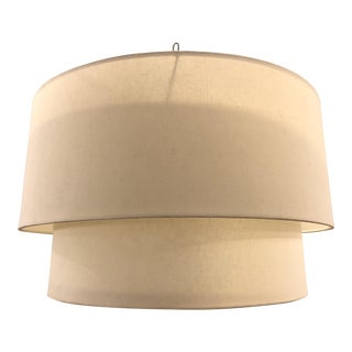 Restoration Hardware Large Two-Tier Round Shade Light Pendant For Sale