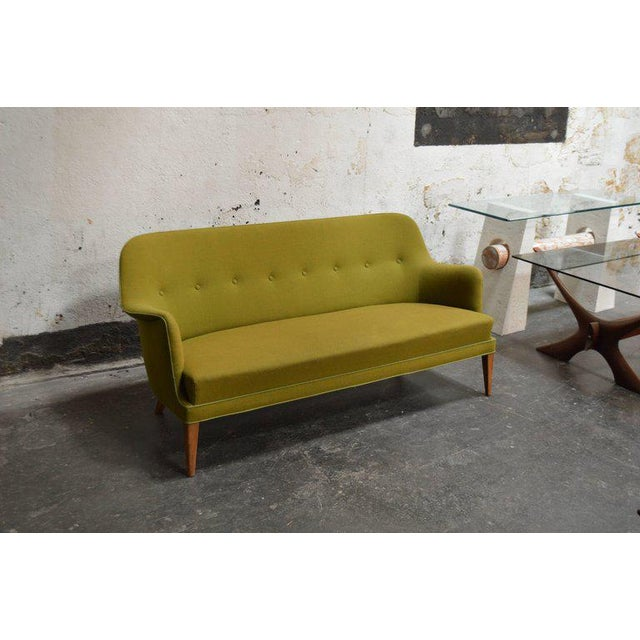 Mid-Century Modern Mid-Century Scandinavian Modern Green Tweed Sofa in the Style of Carl Malmsten For Sale - Image 3 of 6