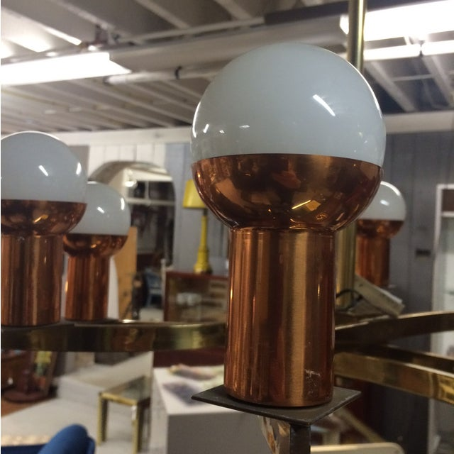 Modernist Brass & Copper Rare Chandelier - Image 4 of 6