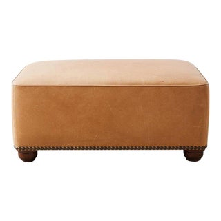 Contemporary Leather Covered Ottoman or Bench For Sale