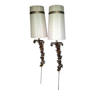 French Louis XV Gold Silver Wall Sconce Lamps - a Pair For Sale