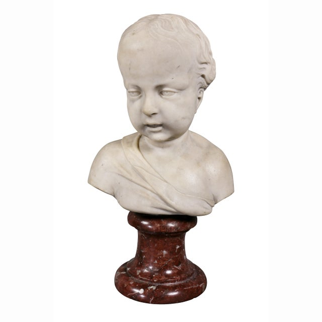 Marble Louis XVI Marble Bust of a Young Boy For Sale - Image 7 of 7