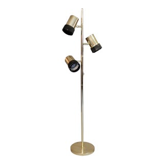 Mid-Century Hollywood Regency Style Brass Gold Floor Lamp With Three Shades For Sale