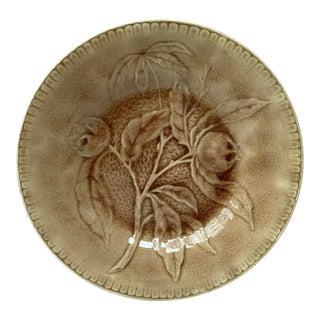 1880s Antique Longchamp Green Majolica Medlar Plate For Sale